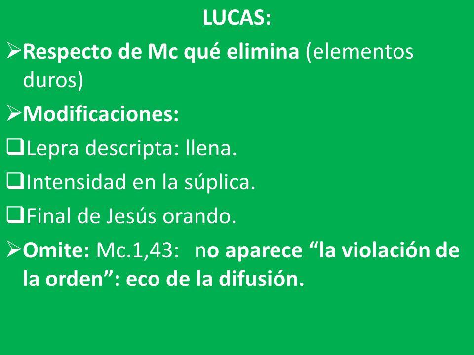 LUCAS: Respecto de Mc qué elimina (elementos duros) Modificaciones: Lepra descripta: llena. Intensidad en la súplica.