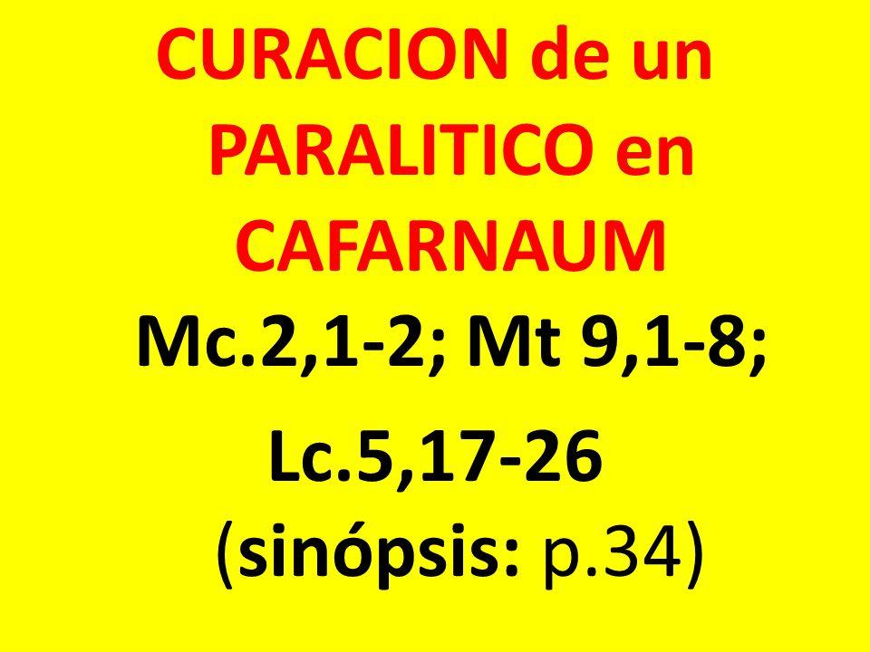CURACION de un PARALITICO en CAFARNAUM Mc. 2,1-2; Mt 9,1-8; Lc