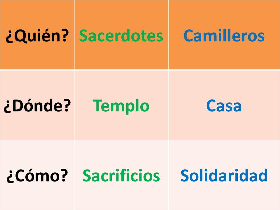 ¿Quién Sacerdotes Camilleros ¿Dónde Templo Casa ¿Cómo Sacrificios Solidaridad