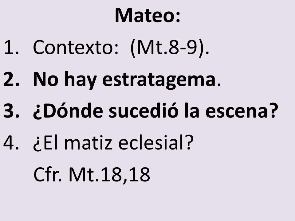 Mateo: Contexto: (Mt.8-9). No hay estratagema. ¿Dónde sucedió la escena.