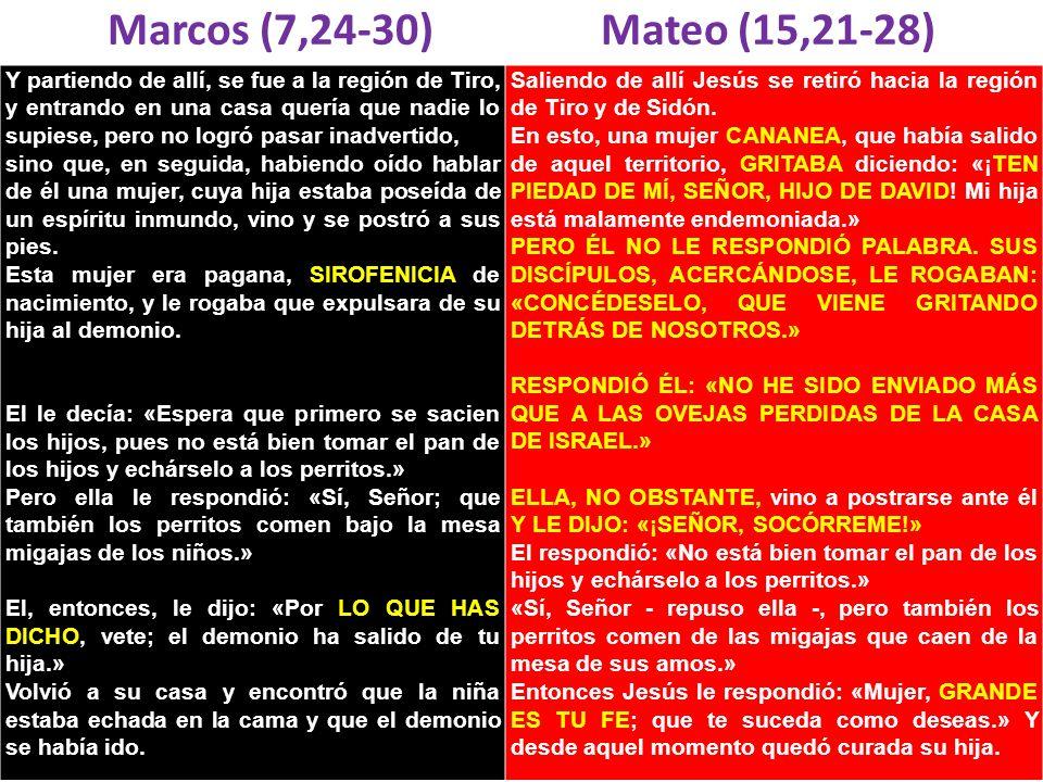 Marcos (7,24-30) Mateo (15,21-28)