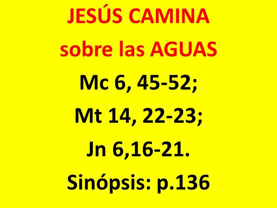 JESÚS CAMINA sobre las AGUAS Mc 6, 45-52; Mt 14, 22-23; Jn 6,16-21. Sinópsis: p.136