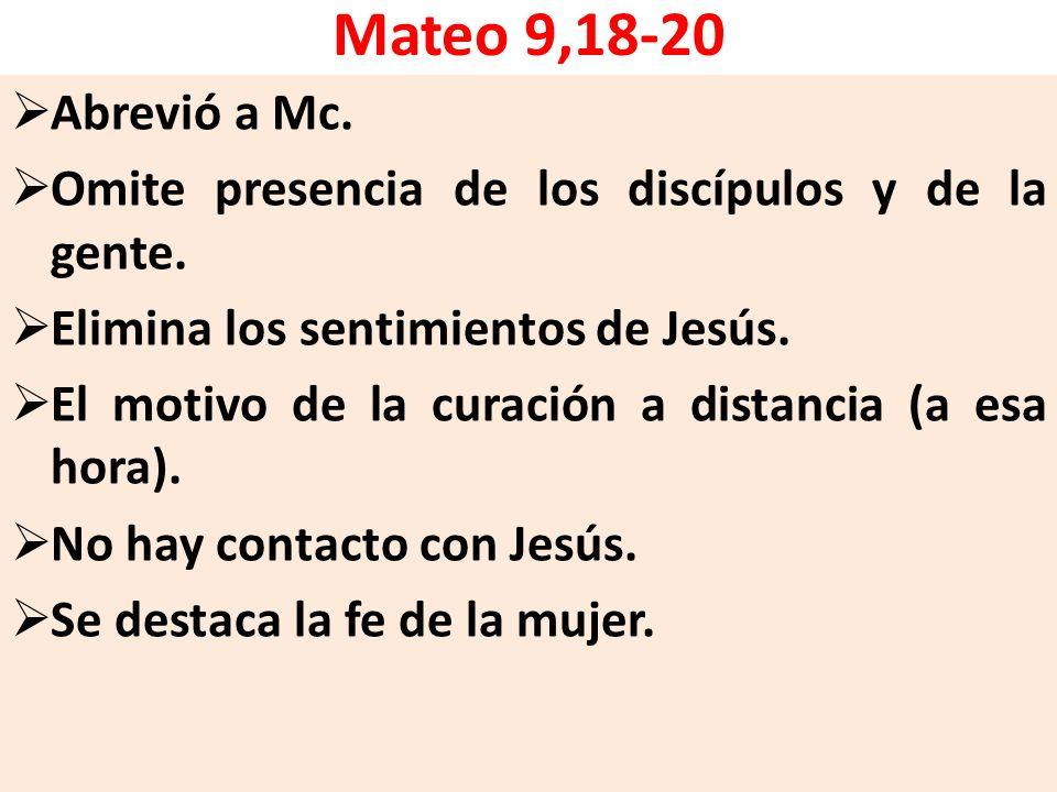 Mateo 9,18-20 Abrevió a Mc. Omite presencia de los discípulos y de la gente. Elimina los sentimientos de Jesús.
