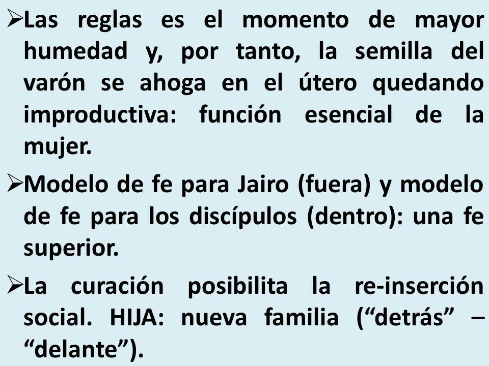 Las reglas es el momento de mayor humedad y, por tanto, la semilla del varón se ahoga en el útero quedando improductiva: función esencial de la mujer.