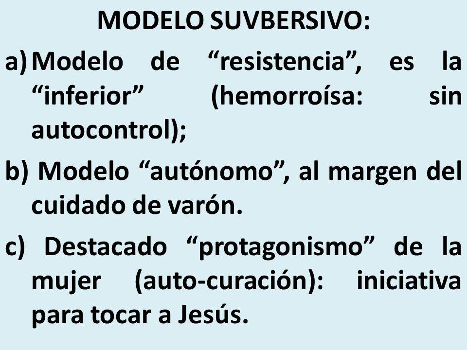 MODELO SUVBERSIVO: Modelo de resistencia , es la inferior (hemorroísa: sin autocontrol); b) Modelo autónomo , al margen del cuidado de varón.