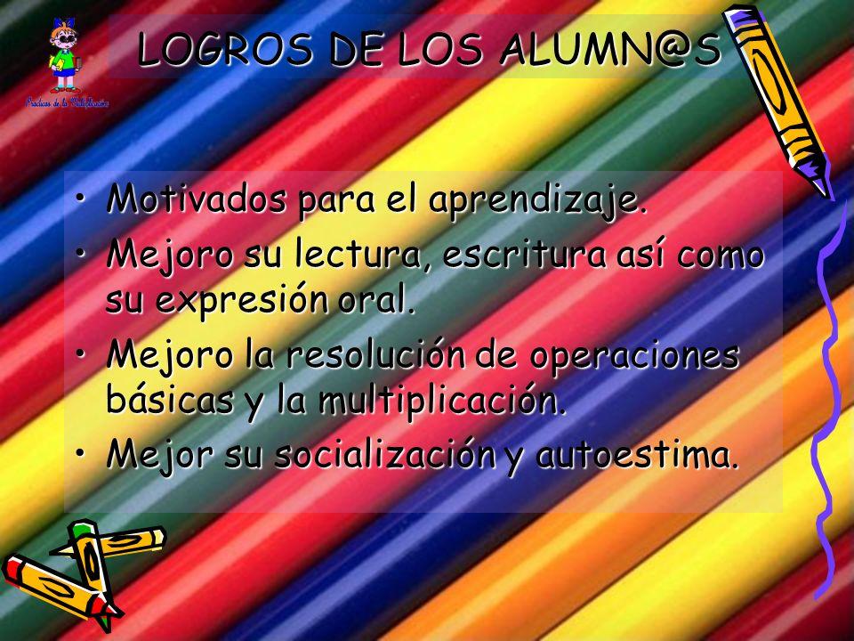 LOGROS DE LOS ALUMN@S Motivados para el aprendizaje.