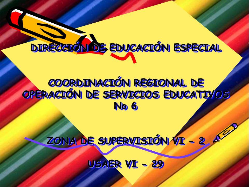 DIRECCIÓN DE EDUCACIÓN ESPECIAL COORDINACIÓN REGIONAL DE OPERACIÓN DE SERVICIOS EDUCATIVOS No 6 ZONA DE SUPERVISIÓN VI - 2 USAER VI - 29