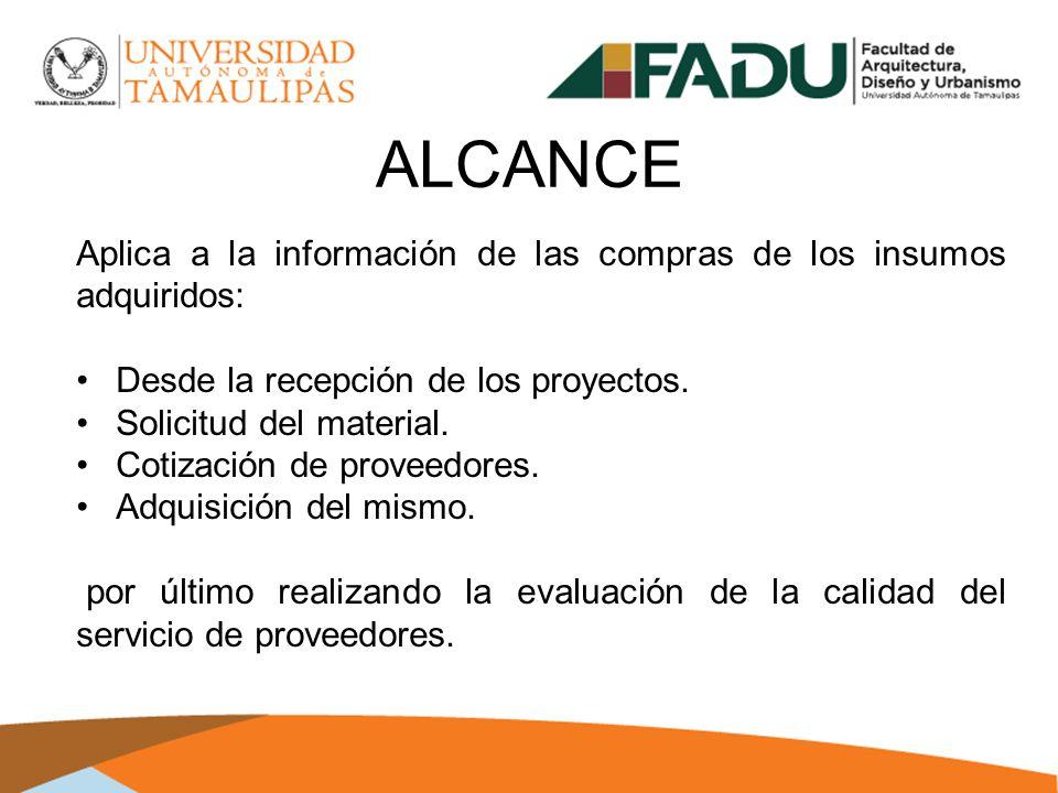 ALCANCE Aplica a la información de las compras de los insumos adquiridos: Desde la recepción de los proyectos.