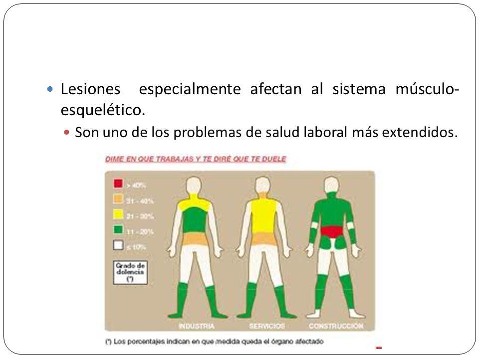 Lesiones especialmente afectan al sistema músculo- esquelético.