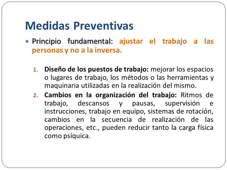 Medidas Preventivas Principio fundamental: ajustar el trabajo a las personas y no a la inversa.