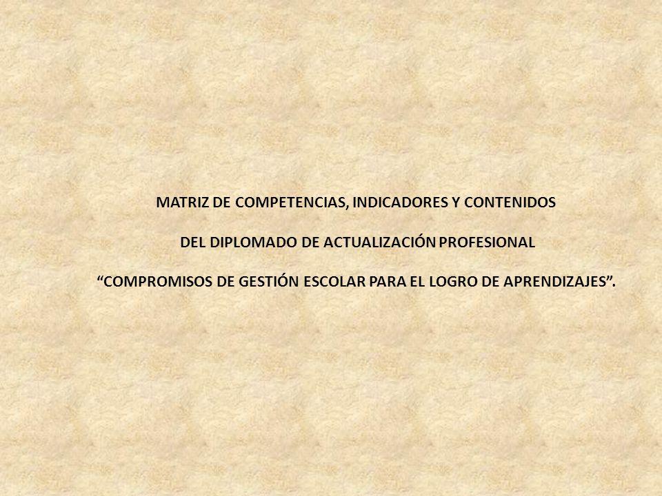 MATRIZ DE COMPETENCIAS, INDICADORES Y CONTENIDOS