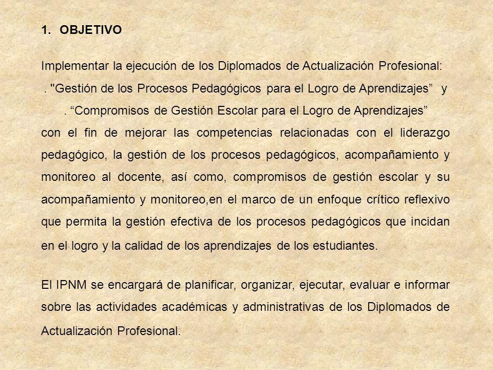 OBJETIVO Implementar la ejecución de los Diplomados de Actualización Profesional: