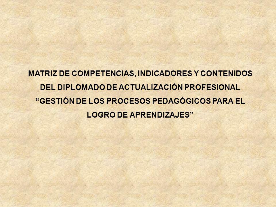 MATRIZ DE COMPETENCIAS, INDICADORES Y CONTENIDOS DEL DIPLOMADO DE ACTUALIZACIÓN PROFESIONAL GESTIÓN DE LOS PROCESOS PEDAGÓGICOS PARA EL LOGRO DE APRENDIZAJES