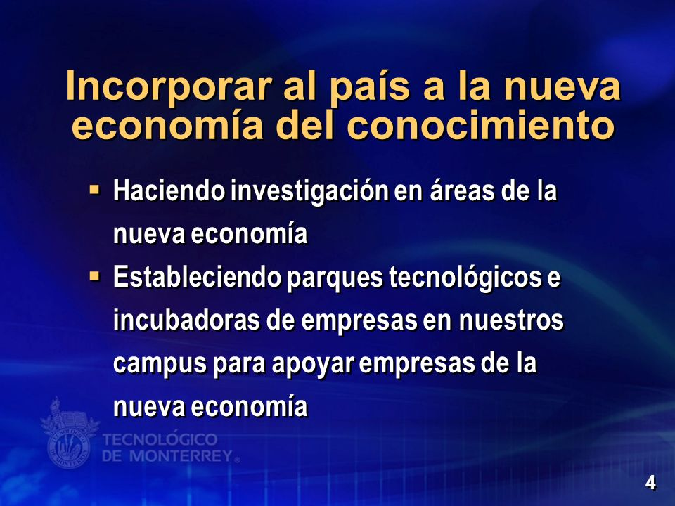 Incorporar al país a la nueva economía del conocimiento