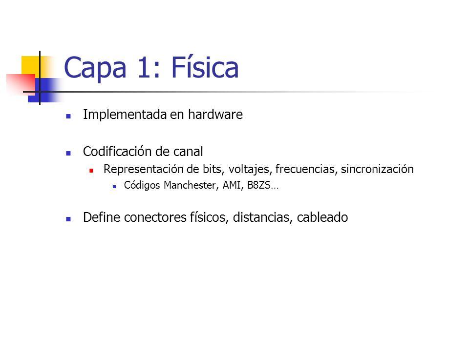 Capa 1: Física Implementada en hardware Codificación de canal