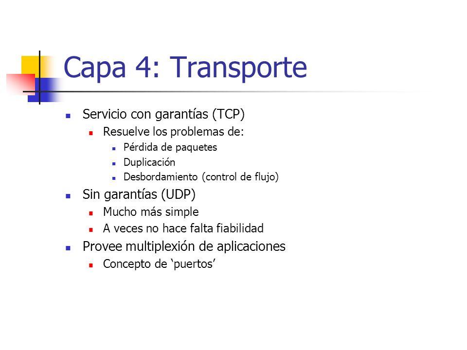 Capa 4: Transporte Servicio con garantías (TCP) Sin garantías (UDP)
