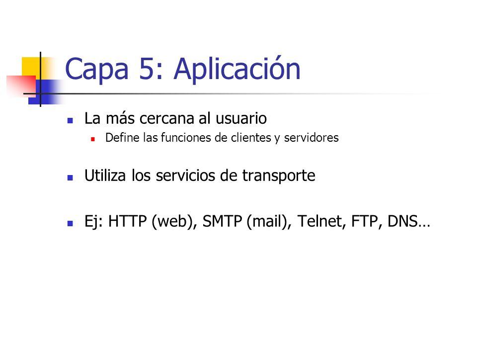 Capa 5: Aplicación La más cercana al usuario