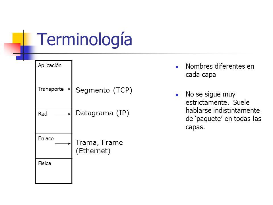 Terminología Nombres diferentes en cada capa