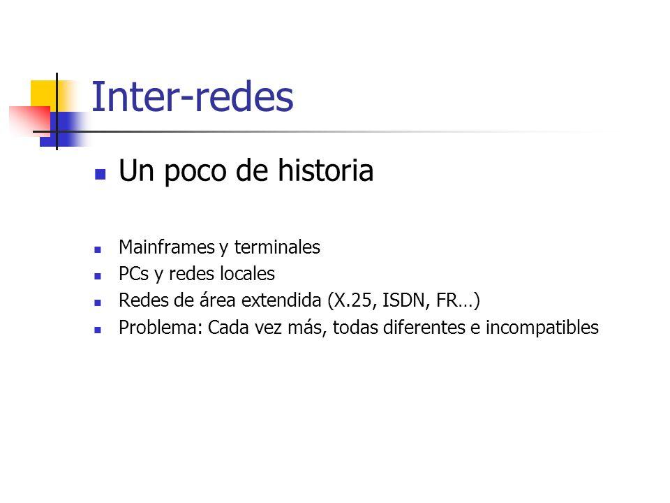 Inter-redes Un poco de historia Mainframes y terminales