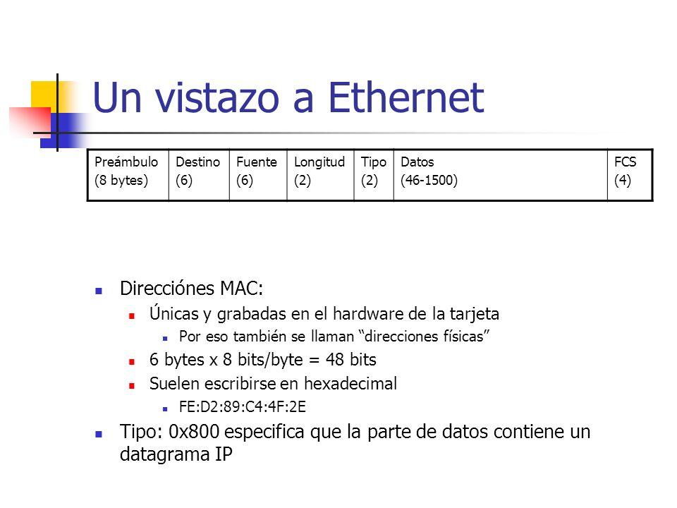 Un vistazo a Ethernet Direcciónes MAC: