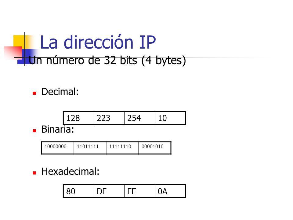 La dirección IP Un número de 32 bits (4 bytes) Decimal: Binaria: