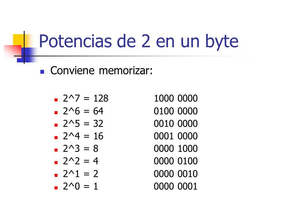 Potencias de 2 en un byte Conviene memorizar: 2^7 = 128 1000 0000