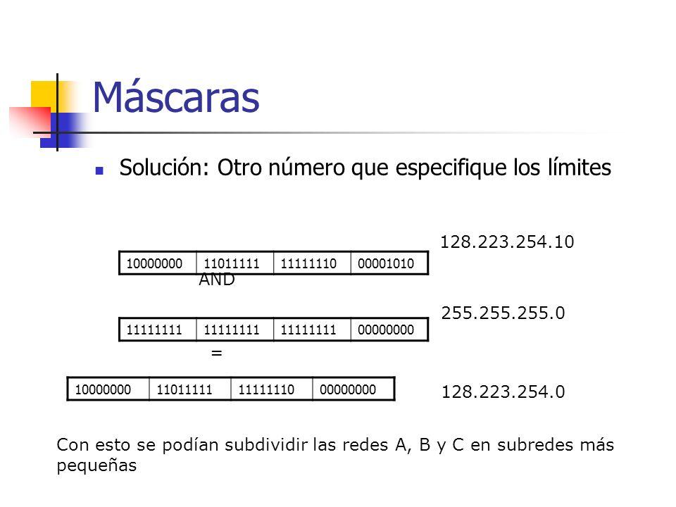 Máscaras Solución: Otro número que especifique los límites