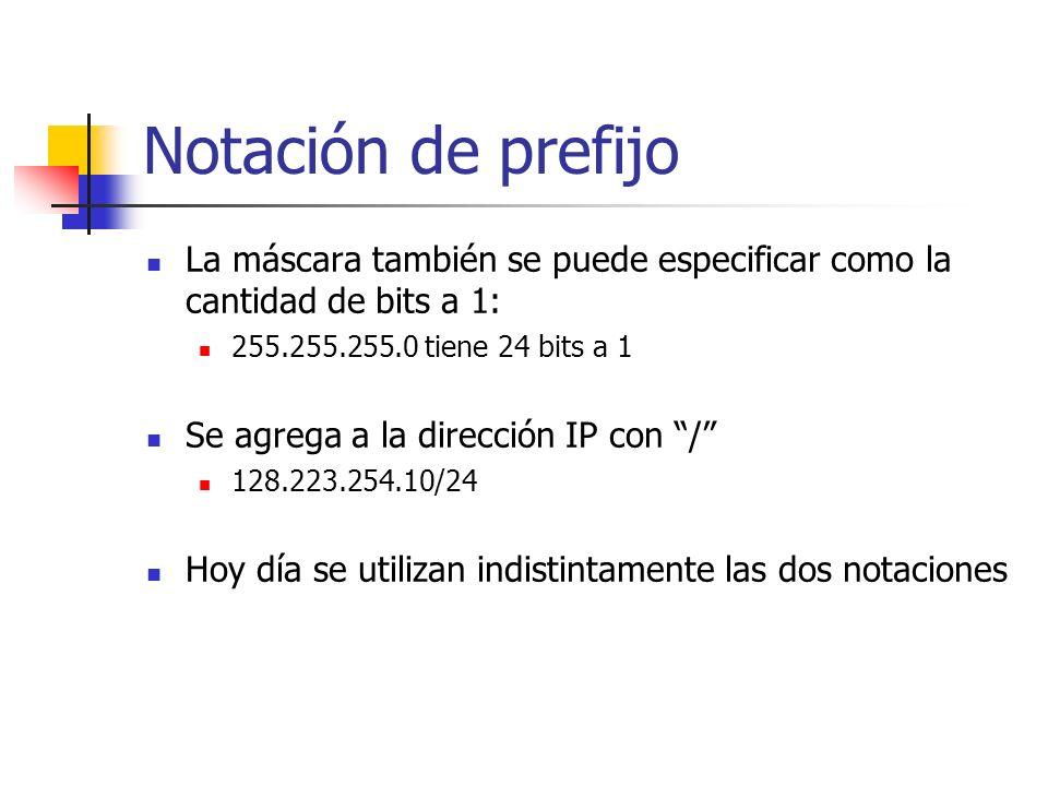 Notación de prefijo La máscara también se puede especificar como la cantidad de bits a 1: 255.255.255.0 tiene 24 bits a 1.