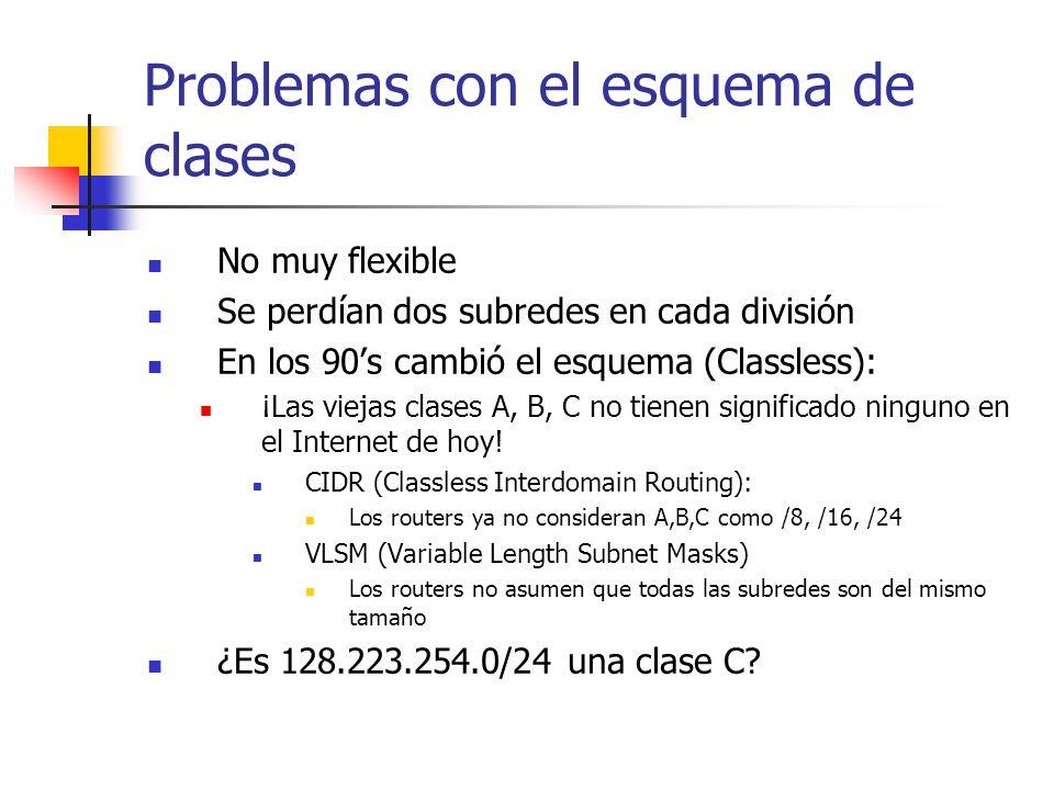Problemas con el esquema de clases