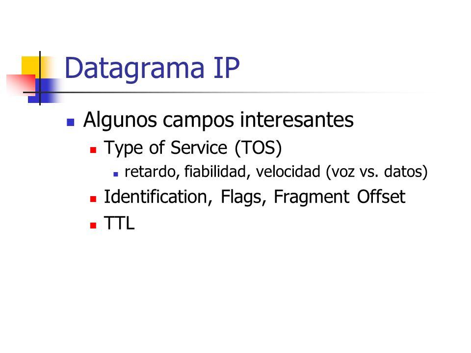 Datagrama IP Algunos campos interesantes Type of Service (TOS)