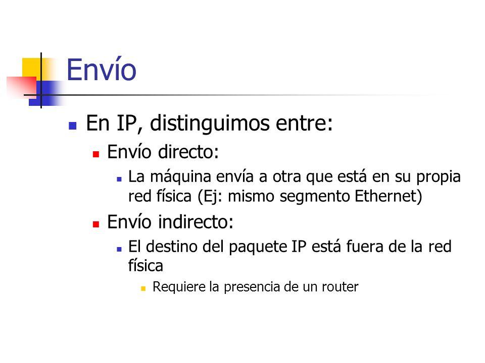 Envío En IP, distinguimos entre: Envío directo: Envío indirecto: