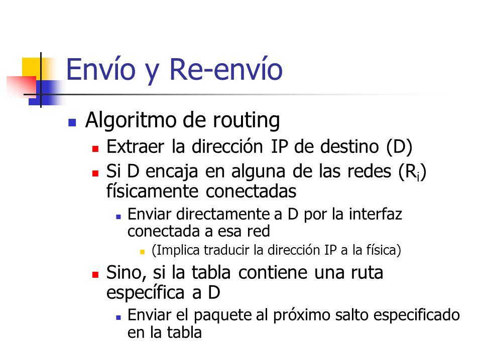 Envío y Re-envío Algoritmo de routing