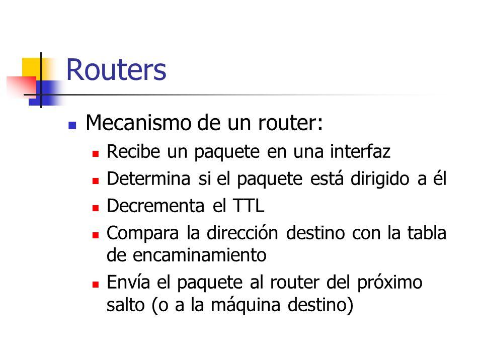 Routers Mecanismo de un router: Recibe un paquete en una interfaz
