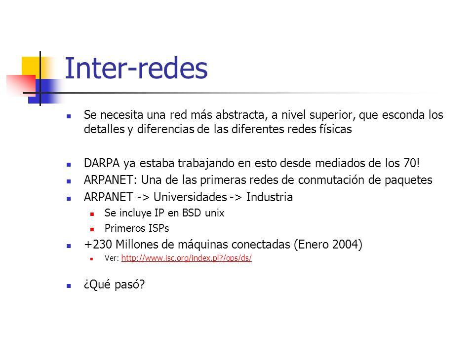Inter-redesSe necesita una red más abstracta, a nivel superior, que esconda los detalles y diferencias de las diferentes redes físicas.