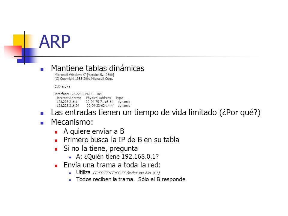 ARP Mantiene tablas dinámicas