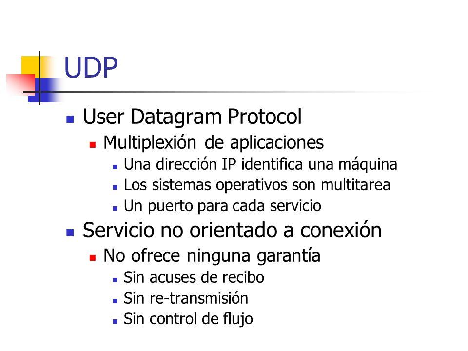 UDP User Datagram Protocol Servicio no orientado a conexión