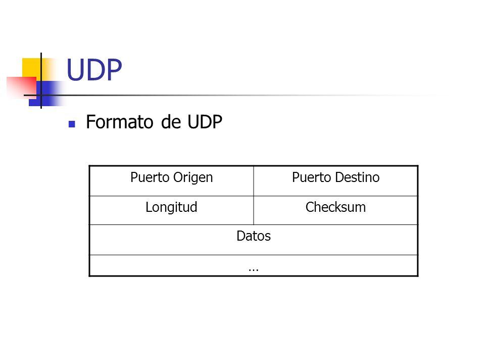 UDP Formato de UDP Puerto Origen Puerto Destino Longitud Checksum