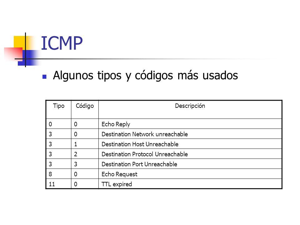 ICMP Algunos tipos y códigos más usados Tipo Código Descripción
