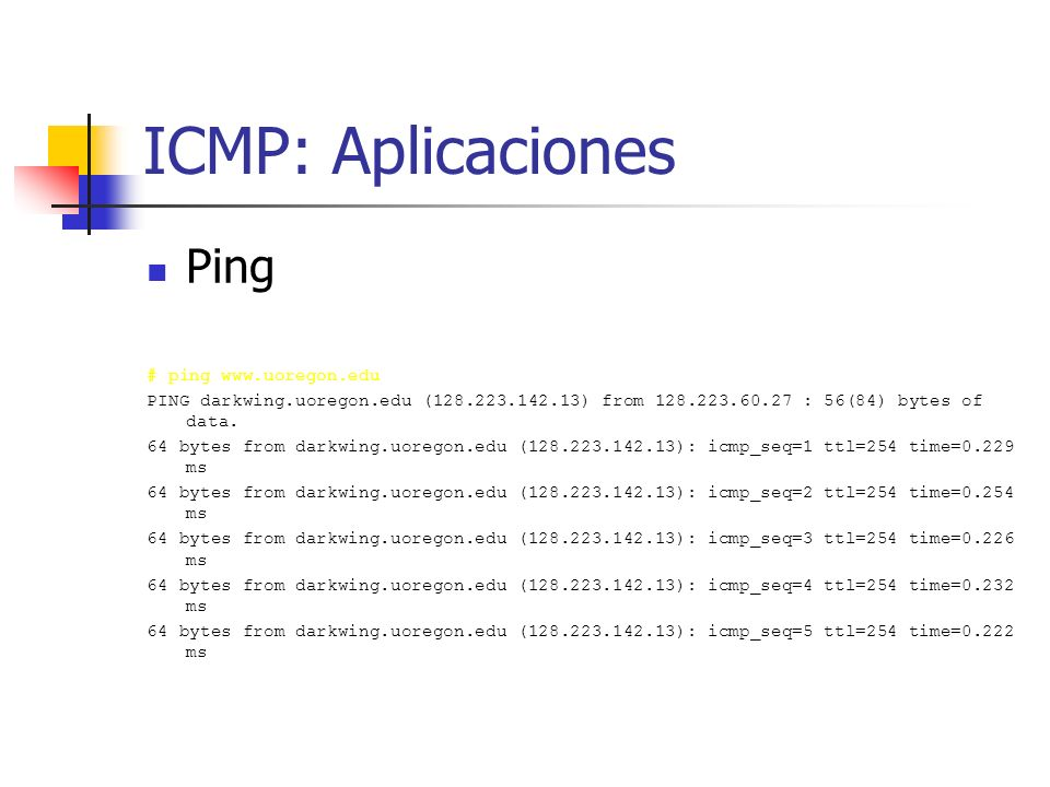 ICMP: Aplicaciones Ping # ping www.uoregon.edu