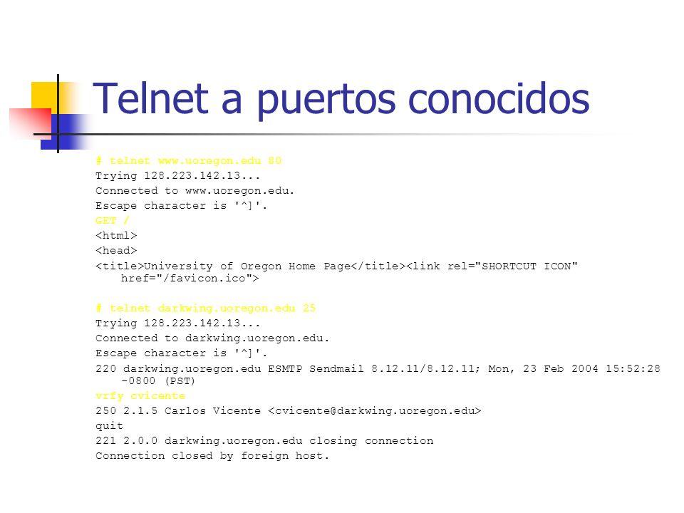Telnet a puertos conocidos