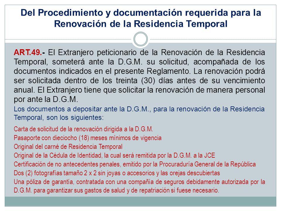 Del Procedimiento y documentación requerida para la Renovación de la Residencia Temporal