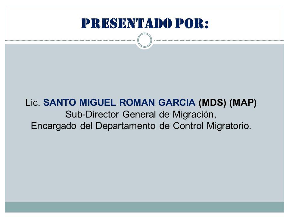 Presentado por: Lic. SANTO MIGUEL ROMAN GARCIA (MDS) (MAP)