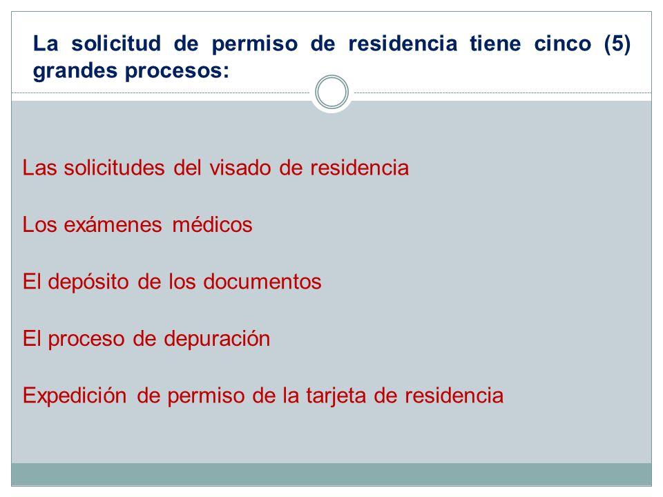 La solicitud de permiso de residencia tiene cinco (5) grandes procesos: