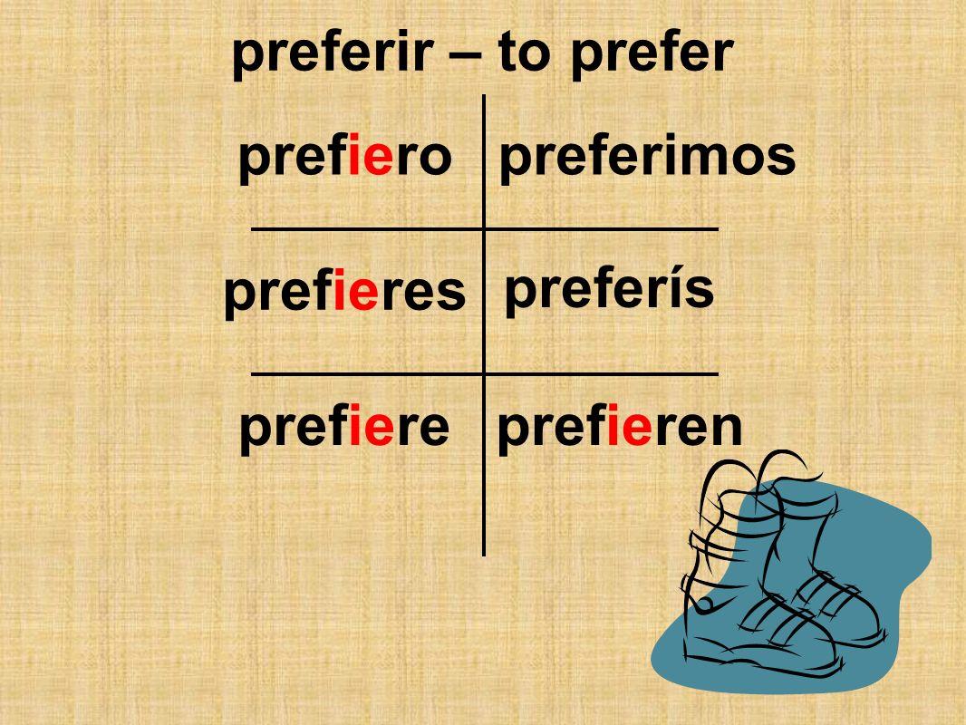 preferir – to prefer prefiero preferimos prefieres preferís prefiere prefieren