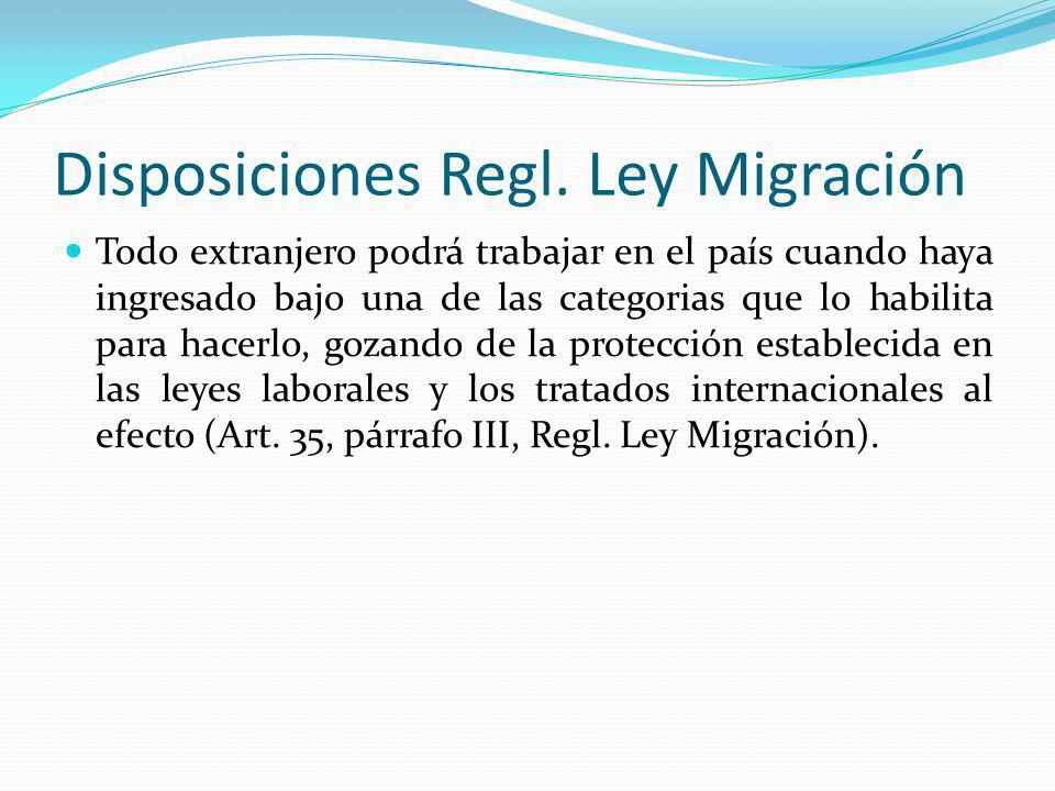 Disposiciones Regl. Ley Migración