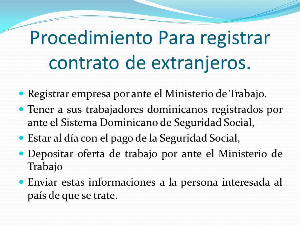Procedimiento Para registrar contrato de extranjeros.