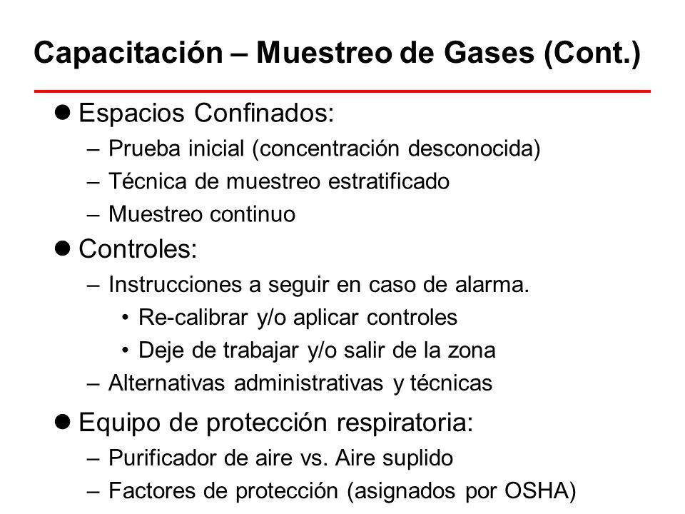 Capacitación – Muestreo de Gases (Cont.)