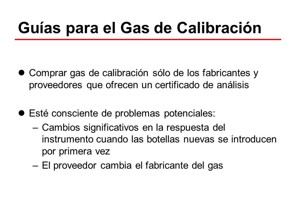 Guías para el Gas de Calibración