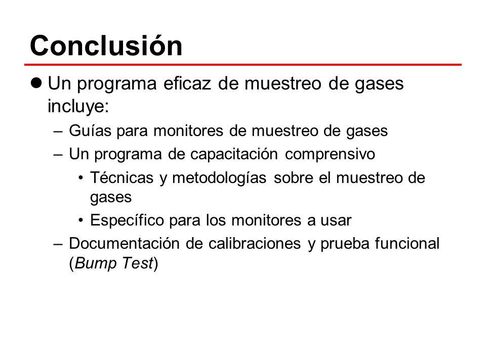 Conclusión Un programa eficaz de muestreo de gases incluye: