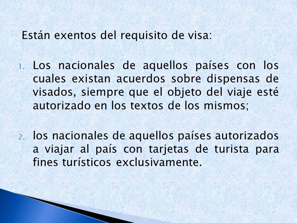 Están exentos del requisito de visa: